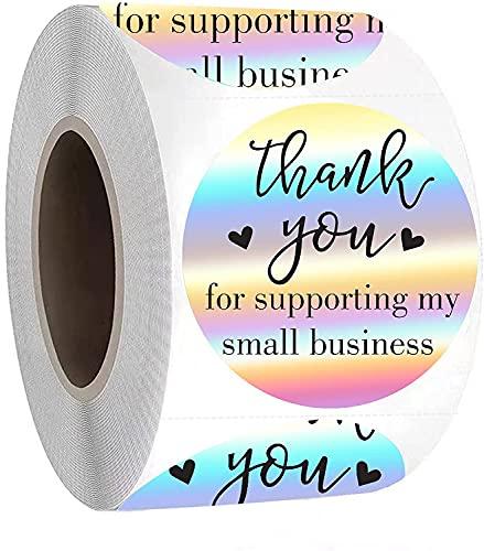 Rollo de pegatinas holográficas de agradecimiento, 3,8 cm, 500 unidades, pegatinas de agradecimiento arcoíris para apoyar mis pequeñas pegatinas de regalo para sus tiendas en línea
