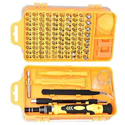 SALUTUYA Juego de Destornilladores de precisión duraderos, Puntas de Destornillador multifuncionales, Accesorios de extracción de 17 Piezas, teléfono para Reparar Relojes, PC(Yellow)