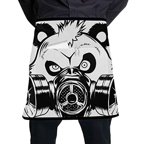 LIANGWE Hombres Delantal de Cocina Divertido Bad Panda Máscara de Gas Delantal de Bolsillo Cintura con Bolsillo Grande Unisex para Cocina Elaboración Dibujo de Barbacoa
