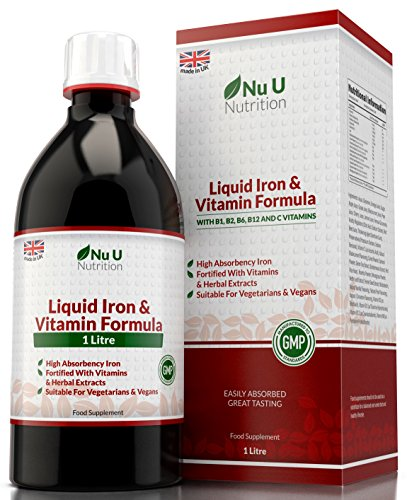 Liquid Iron Supplement 1 Litre | 50 Day's Supply | Fortified with Vitamins and Herbal Extracts | Includes Vitamin B2, B6, B12 & Vitamin C | Great Tasting Vegetarian & Vegan Liquid Iron by Nu U Nutrition