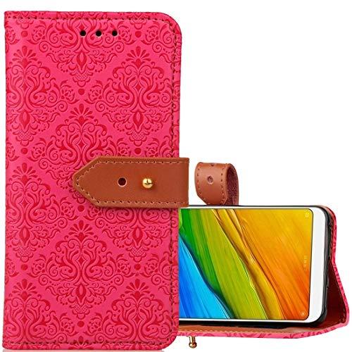 Xiaomi Redmi 5 Plus beschermhoes van leer voor horizontale trillingen in Europese stijl Xiaomi Redmi 5 Plus met standaard en kaartsleuf en portemonnee en fotolijst voor foto's en koord (, Magenta
