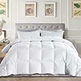 EDUJIN Twin Down Comforter Goose Duck Down and Feather Filling–100% Cotton Quilted Lightweight Thin Duvet Insert or Stand-Alone for Summer with Corner Tabs 64×88 Inch White