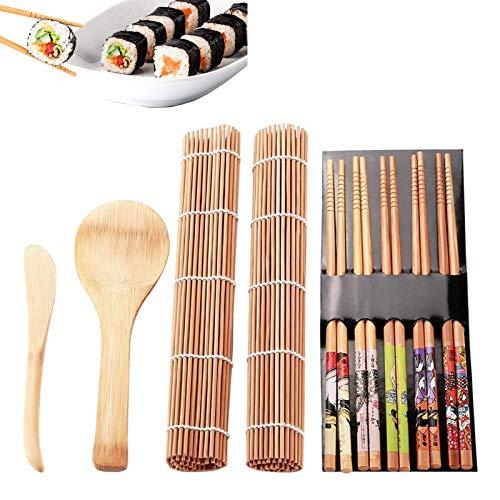 gotyou Kit para Hacer Sushi, 9 Piezas Herramienta para Hacer Sushi de Bambú Kit, Fabricación de Sushi de Bambú, 2 x Sushi Rolling Mat 5 x Palillos 1 x Cuchillo de Madera 1x Cuchara de arroz de bambú