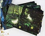 Luminosa tarjeta postal de 30 tarjetas de graduación tarjetas de animación, tarjetas de felicitación, tarjetas de cumpleaños, diseño de bosque de ciervo y luz de luna