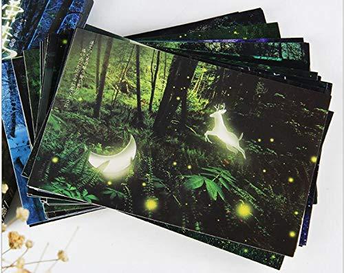 Leuchtende Postkarte 30 Karten Staffelungs Karten Ermutigungs Karten Glückwunschkarten Geburtstagskarten Wald Thema Postkarte Set Hirsch & Mondlicht