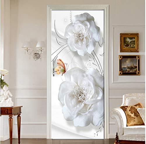 MNJKH Door stickers door decals, Door Stickers 3D Embossed White Flowers Living Room Bedroom Door Wallpaper Self Adhesive Wall Decals Imitation Wall Stickers