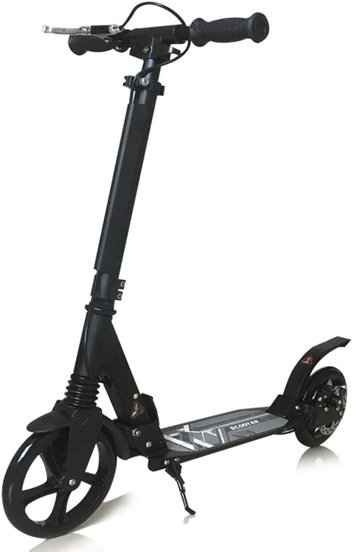 Dreiradscooter Roller mit Handbremse und groen Rdern, Unterstützung 100kg, Geburtstagsgeschenke für Kinder ab 7 Jahren Jungen Mdchen, Nicht elektrisch (Farbe   SCHWARZ)
