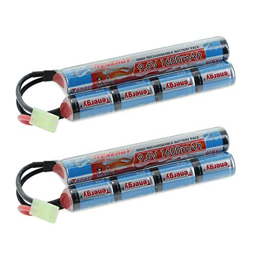 Tenergy 2 Pack 9.6V NiMH 1600mAh Rechargeable Butterfly Battery Pack with Mini Tamiya Connector for Airsoft Guns