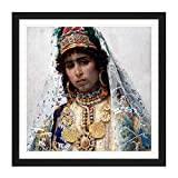 Tapiro Berber Bride Portrait Painting Square Wooden Framed Wall Art Print Picture 16X16 Inch Porträt Malerei Holz Wand Bild