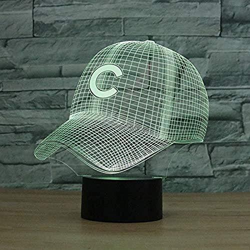 3D Light Chicago Cubs Baseball Team Cap Hat Nightlight Led Desk Lámpara de mesa para niños Sleeping Light Light Up Toy