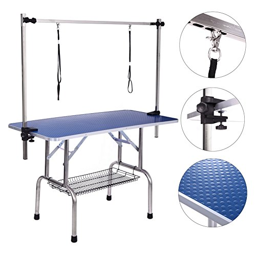 Dog Grooming Table, Adjustable Clamp Overhead Pet Grooming Arm with Double Grooming Loop (36'' by 24'')