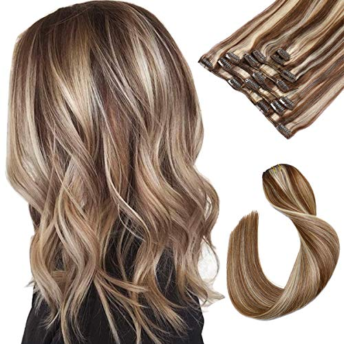 Clip in Hair Extensions Brown with Blonde Highlighted Human Hair Clip in Real Extensions 7 Pieces 70G Remy Clip in Hair Extensions Silky Straight Double Weft Clip ons for Women