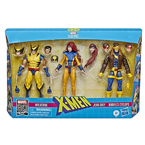 Hasbro Marvel Legends Series 6-inch Collectible Action Figures 3-Pack X-Men Toys, Wolverine, Jean Grey, Marvel's Cyclops, Premium Design