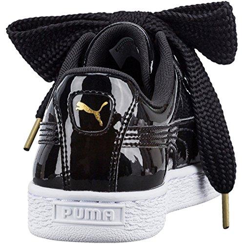 Puma Basket Heart Patent Low-Top Sneaker, Schwarz - 5