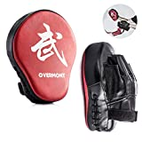 Overmont Scudo a Colpi alla Forma di Palma Arc-Shaped Striking Shield in PU per l'addestramento Boxing, Muay Boxing Thai, Karate, Taekwondo, UFC, MMA ROSSOx2