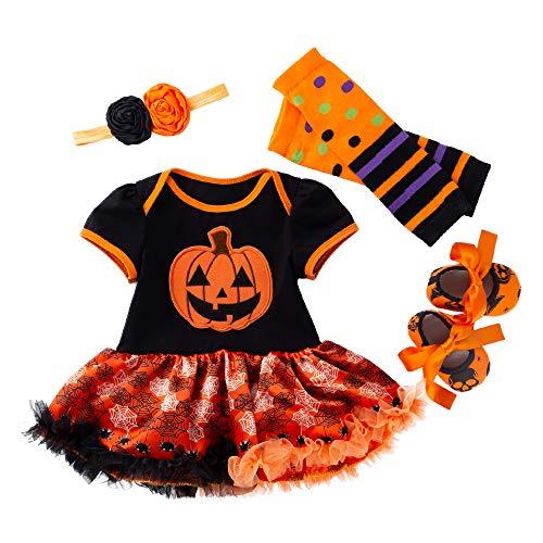 4 stks Baby Meisjes Romper Jurken voor Halloween Kerst Romper Body Suit Outfit Set Nieuwe Geboren Meisje Rok 0-24 Maanden