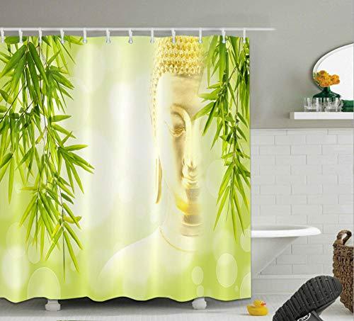 FAIEK Duschvorhang 120(W) X180(H) cm Badezimmer Polyester Stoff Wasserdicht Schimmelbeständig Und Maschinenwaschbar Badvorhänge Mit 12 Haken, Buddha-Statue Im Bambuswald