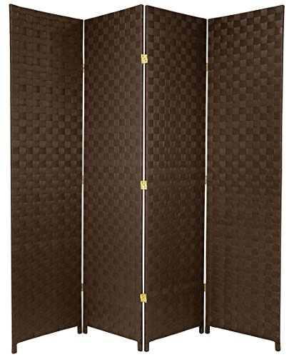Oriental Furniture 6 ft. Tall Woven Fiber-Outdoor All Weather-Room-Divider - 4-Panel - Dark Brown