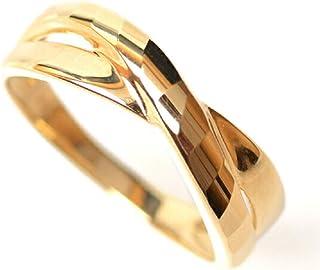 18金 リング 指輪 k18リング 18金ゴールドリング 多面カット ウェーブライン 2連調 デザインリング (12)