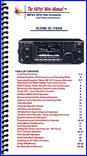Icom IC-7600 Mini-Manual by Nifty Accessories