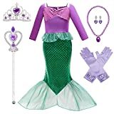 Little Mermaid Costume Ariel Dress for Toddler Grils Birthday Party 4T 5T (K34,110CM)