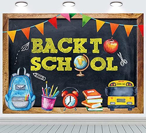 INRUI Regreso a la escuela Tema Fotografía Antecedentes Autobús Escolar Lápices Pizarra Aprendizaje Decoración de Fiesta Niños (2,1 m x 1,5