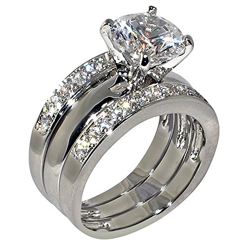 3.47 Ct. Round-Shape Cubic Zirconia Cz Solitaire Bridal Engagement Wedding 3 Piece Ring Set (Center Stone is 2.75 Cts) Size 7.5