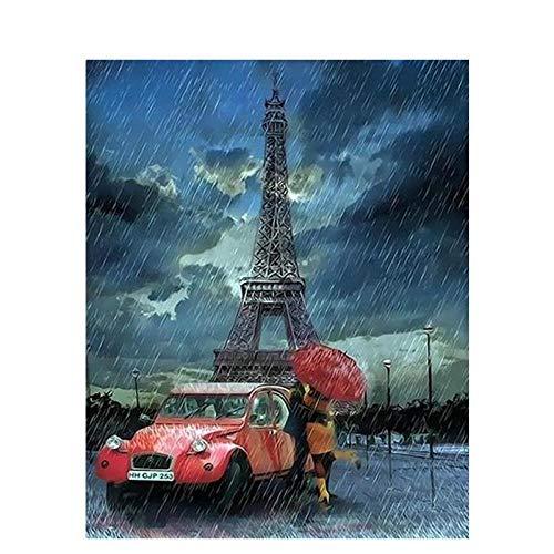 DMLGQ digitaal schilderij om te knutselen, olieverfschilderij, decoratie, door uzelf geschilderd, op canvas, 40 x 50 cm, Eiffeltoren voor paar, regen, knuffelen Encadrée