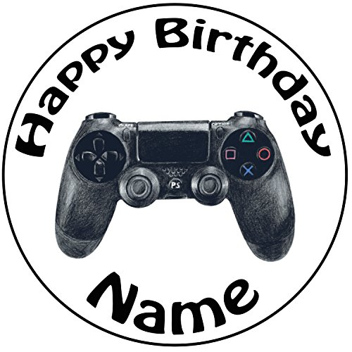 Personalisierter PS4 Controller Zuckerguss Kuchen Topper / Kuchendekoration - 20 cm Großer Kreis - Jeder Name Und Jedes Alter