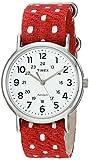 Timex Unisex TW2R104009J Weekender Red Polka Dot Fabric Over Leather Slip-Thru Strap Watch