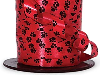 Red with Black Paw Print Curling Ribbon - 7/16