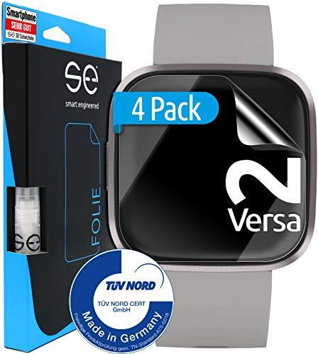 [4 Stück] Schutzfolien kompatibel mit Versa 2 - [Made in Germany - TÜV NORD] - Premium Schutz - volle Abdeckung - einfache blasenfreie Aufbringung - HD-Klar - Wasser- & schmutzabweisend