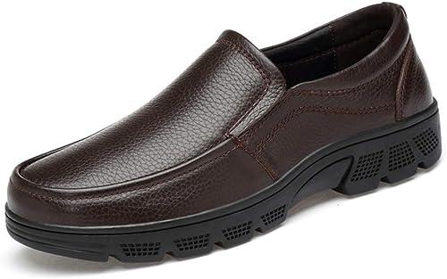 DINGGUANGHE-zapatos Chañol Elegantes y cómodos Oxford de los hombres Formales, cómodos, Baños, Suela Suave, Zapaños Formales Ropa Formal Zapaños de Vestir (Color   marrón, Tamaño   38 EU)