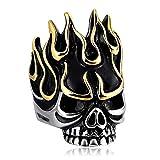 AiZnoY Acero Inoxidable Anillos Hombres Fuego Tatuaje Esqueleto Anillo Oro Vintage Anillos Tamaño 22
