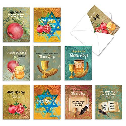 Shana Tova - 10 Assorted Jewish New Years Cards with Envelopes (4 x 5.12 Inch) - Rosh Hashanah Celebration Greetings - Boxed, Religious Happy Holiday Note Card Set AM6135RHG-B1x10