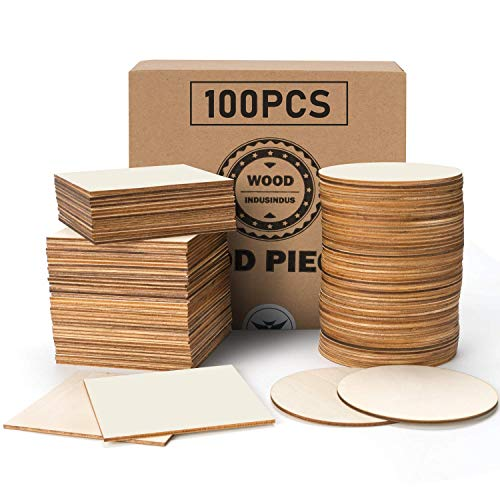 """PGFUNNY 100 Pieces Unfinished Wood Pieces 4"""" x 4"""" Squares Round Wooden Cutouts for DIY Arts Craft Project Coasters Pyrography Painting Writing"""