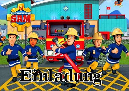 Feuerwehrmann Sam Einladungskarten 12er Set inkl. 12 Umschläge Motiv AMA8