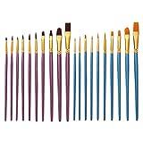 Hakka 20Pcs Kits de Pinceles Pinceles de Arte Set Pinceles de Detalle Pinceles de Artista para Niños Estudiantes Niños