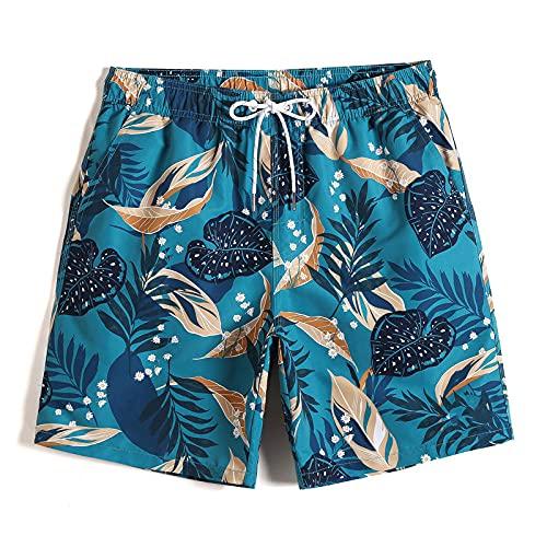 Hombre Pantalones Cortos Hawaianos De Surf,Pantalones Cortos Casuales De Surf para La Playa, Novedad, Bañadores con Estampado De Hojas De Monstera, Bañadores Hawaianos Transpirables De Secado Ráp