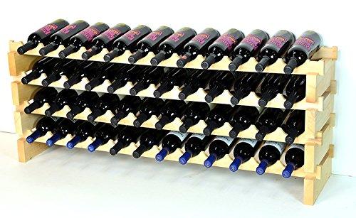 sfDisplay.com,LLC. Modular Wine Rack Beechwood 48-144 Bottle Capacity 12 Bottles Across up to 12 Rows Newest Improved Model (48 Bottles - 4 Rows)