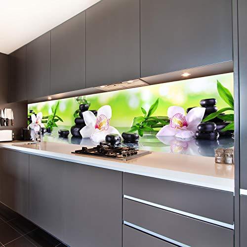 wandmotiv24 Küchenrückwand Orchidee Bambus Steine Glas 260 x 60cm (B x H) - Acrylglas 4mm Nischenrückwand Spritzschutz Fliesenspiegel-Ersatz M1087