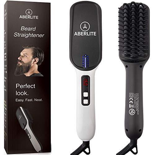 (Upgraded) Aberlite MAX - Beard Straightener for Men - Beard Straightening Heat Brush Comb Ionic - for Home & Travel
