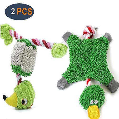GingerUP Hundespielzeug, quietschendes Plüschspielzeug mit Seilknoten, Jagd, Apportieren, Kauspielzeug für kleine und mittelgroße Hunde