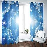 MENGBB Cortina Opaca Microfibra Infantil 280x260cm Sol, Cielo Azul y Nubes Blancas 95% Opaca Cortina aislantes de frío y Calor Decorativa con Ojales Estilo para Salón Habitación y Dormitorio