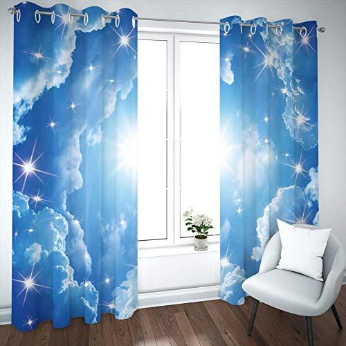 MENGBB Cortina Opaca Microfibra Infantil 230x180cm Sol, Cielo Azul y Nubes Blancas 95% Opaca Cortina aislantes de frío y Calor Decorativa con Ojales Estilo para Salón Habitación y Dormitorio