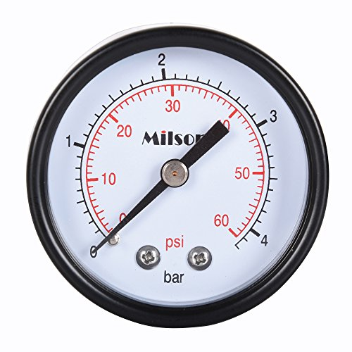 Milson Pressure Gauge 2quot Black Steel Case Back Mount 1/4quotNPT 060 Psi/Bar Accuracy: /20 Brass Internal Multiple Function