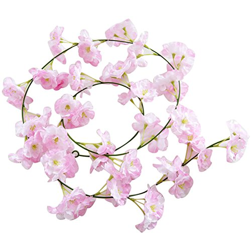 angel3292 Clearance Deals!!Artificial Plant,Artificial Fake Cherry Blossom Vine Flower Plant Wedding Party Home Decoration Pink + White
