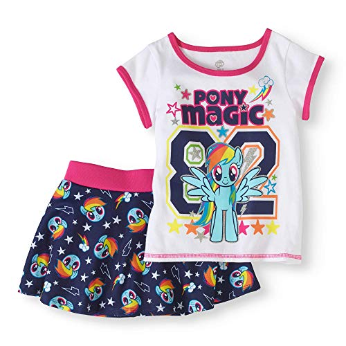 Toddler Girls' My Little Pony T-Shirt and Skater Scooter Skirt 2-Piece Outfit Set (4T)