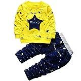T L 2 en 1 Niños Estrella de Cinco Puntas de inyección de Tinta Dot patrón de la Letra Camisa de Manga Larga + Pantalones Set, Altura: 110 cm (Azul Claro) (Color : Yellow)