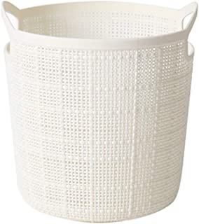 Martinimble Laundry Basket,Round Portable Storage Baskets Faux Linen Plastic Laundry Washing Basket Snack Toy Laundry Hamper(Color:White,Blue,Gray)